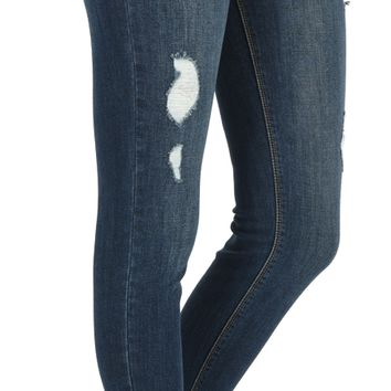 Women's High Rise Distressed Ankle Skinny