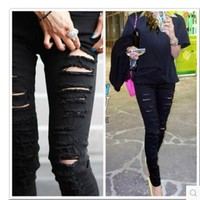 SMTHMA 2017 New Womens Casual Black and white High Waist Torn Jeans Ripped Hole Knee Skinny Pencil Pants Sexy Slim Denim Jeans