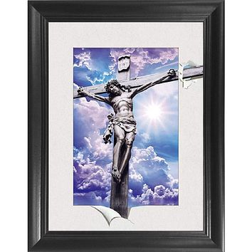 Jesus Christ on The Cross 5D / 3D Poster Wall Art Decor Framed Print   14.5x18.5   Lenticular Posters & Pictures   Memorabilia Gifts for Guys & Girls Bedroom   Picture of Catholic Religious Artwork