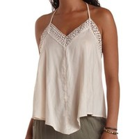 Ivory Crochet Trim Swing Halter Top by Charlotte Russe