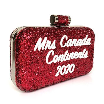 Glitter Clutch Bag - Custom Lettering Red Purse - Pageant Accessory