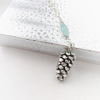 Silver Pine Cone Necklace - Christmas Jewelry -Large Pine Cone Pendant - Xmas Holiday Gift - Winter Jewelry