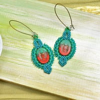Picasso earrings, bohemian micro-macrame earrings, free spirit inspired, boho chic, macrame jewelry, teal red, beaded, dangle drops earrings
