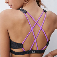 Medium Impact - Heathered Strappy Sports Bra
