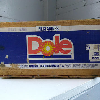 Vintage, Wood, Crate, Produce Crate, Dole, Nectarine, Storage Box, Decorative Box, Advertising Crate, Photo Prop, RhymeswithDaughter