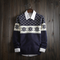 Fashion Mens Comfortable Warm V Neck Snowflake Sweater