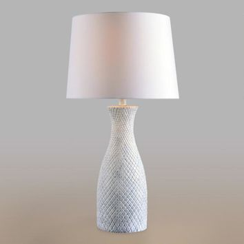 Blue Wash Resin Anna Table Lamp and Shade Set