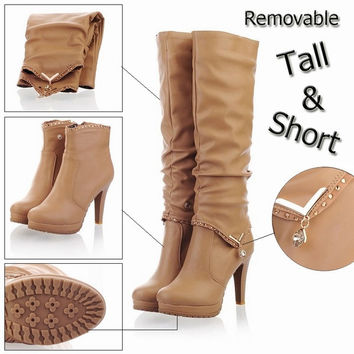 New2015 Winter Knee High Boots Women Motorcycle Boots Two Way Wear High Heels Soft Leather Shoes winter boots [7669086854]