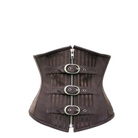 Striped Brown Underbust With Buckles