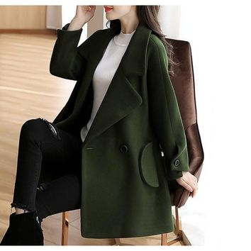 Womens Double Breasted Peacoat in Green