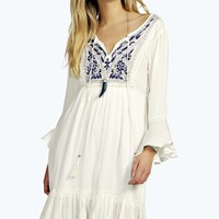 Abia Embroidered Tassel Trim Woven Smock Dress