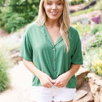 Going Green Button Down Blouse, Green