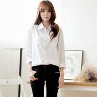 White Collared Long Sleeve Button Down Shirt