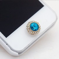 CASESTOER Cute Bling Rhinestone Crystal Diamond Phone Home Return Keys Buttons Sticker for Iphone 4s Iphone 5 Ipod Touch Ipad(blue)