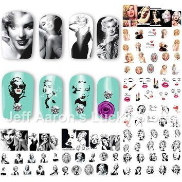 12PCS/lot beauty Marilyn Monroe water transfer nail art sticker decals for nails decoration accessoires manicure tools 8192