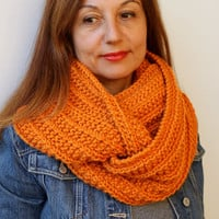 FREE SHIPPING Infinity Cowl Circle Scarf Infinity Scarf / Snood / Orange / Hand Knitted Chunky Scarf / Oversized Knit Scarf / Loop