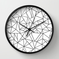 Abstract Outline Black on White Wall Clock by Project M   Society6