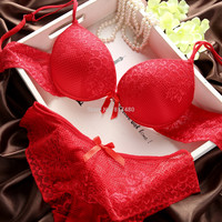 Fashion red lace deep V-neck thin thick with wire push up bra set panties accept supernumerary breast