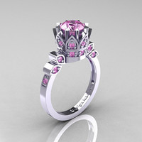 Classic Armenian 10K White Gold 1.0 Light Pink Sapphire Bridal Solitaire Ring R405-10KWGLPS