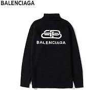 Balenciaga 2019 new knit lock letter logo high collar sweater black