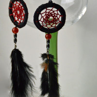 Black Dream Catcher Earrings, Black Feather Earrings, Dangle Earrings, With Carnelian and Hematite gemstone