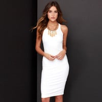 Sleeveless Bodycon Mid Dress with Metal Zipper