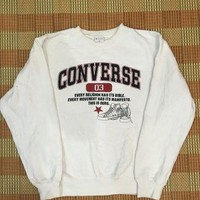 Vintage 90s CONVERSE All Star Sweatshirt White Pullover Sweater Sport Hip Hop Adult Si