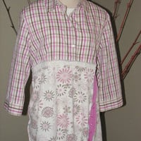 Womens Size Large Upcycled Plaid pink shirt with flowery pink piece work baby doll bottom, ties in back, 3/4 sleeve