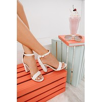 Attention Stealer Faux Leather Heels (White)