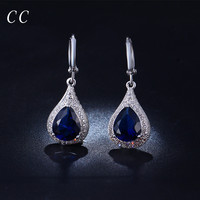 Blue water drop dangle earrings for women party engagement wedding jewelry with AAA CZ diamond gifts for female accessory CCE020