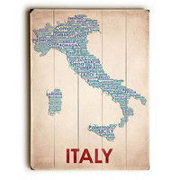 Italy Map by American Flat Wood Sign