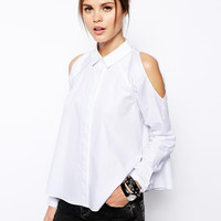 White Cutout Shoulder Long-Sleeve Button Collared Blouse