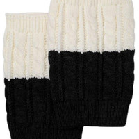 Women's Two Tone Ivory / Black REVERSIBLE BOOT CUFF - Cable Knit Boot Sock Topper, Knitted Boot Cuffs