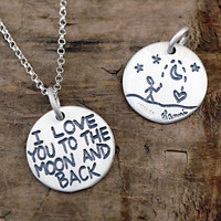 I Love You To The Moon And Back Necklace - Jewelry For Daughters - Silver Word Pendant