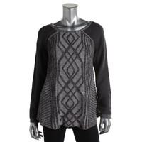 Style & Co. Womens Cable Knit Ribbed Trim Sweater