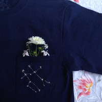 Embroidered Constellation Pocket T Shirt