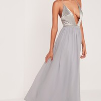 Missguided - Carli Bybel Pleated Silky Maxi Dress Grey