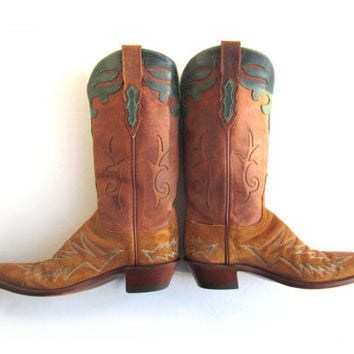 Vintage Lucchese 1883 Suede Leather Cowboy Boots Ladies 7.5 B Narrow