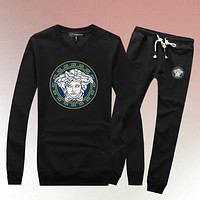 Versace Woman Men Long Sleeve Shirt Top Tee Pants Trousers Set Two-Piece Sportswear