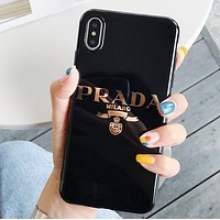 Prada Fashion New Letter Print Women Men Phone Case Protective Cover Black