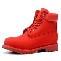 Timberland Rhubarb boots for men and women shoes waterproof Martin boots lovers Red