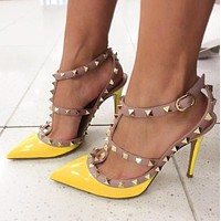 Valentino Fashion Women Rivet Pointed Sandals Shoes High Heels Yellow