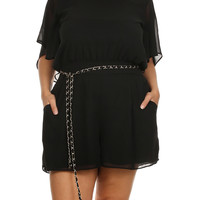 Plus Size Butterfly Sleeves Sheer Belted Romper, Plus Size Clothing, Club Wear, Dresses, Tops, Sexy Trendy Plus Size Women Clothes