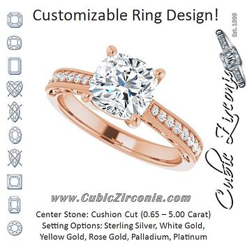 Cubic Zirconia Engagement Ring- The Lina (Customizable Cushion Cut Design with Round Band Accents and Three-sided Filigree Engraving)