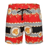 Onewel Versace Beach Shorts Contrast head print  Black Red Gold Shorts