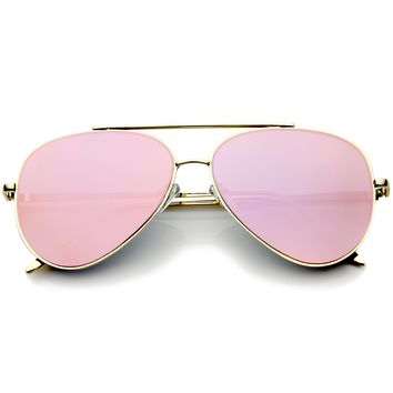 Mod Fashion Teardrop Rimless Mirror Flat Lens Metal Frame Aviator Sunglasses 58mm