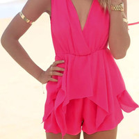Hot Pink Surplice V Neck Sleeveless Ruffled Romper