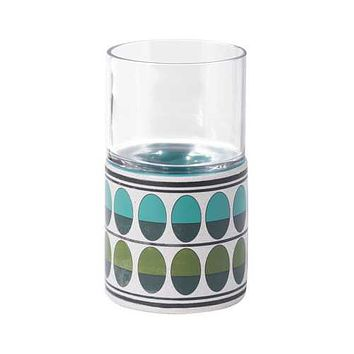 """4.1"""" x 4.1"""" x 7.3"""" Green & Teal, Ceramic & Glass, Small Candle Holder"""