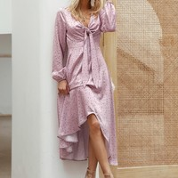 Simplee Dot Print Tie Front Asymmetrical Hem Satin Dress
