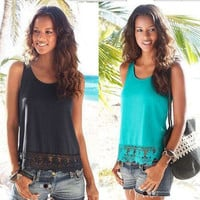 SIMPLE - Popular Fashionable Summer Hollow Bandage Lace Beach Top Women Tank Vest Shirt T-shirt b2656